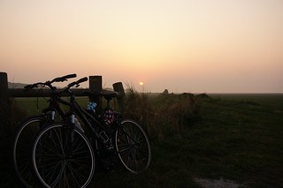 Our bikes at sunset near Mont St Michel
