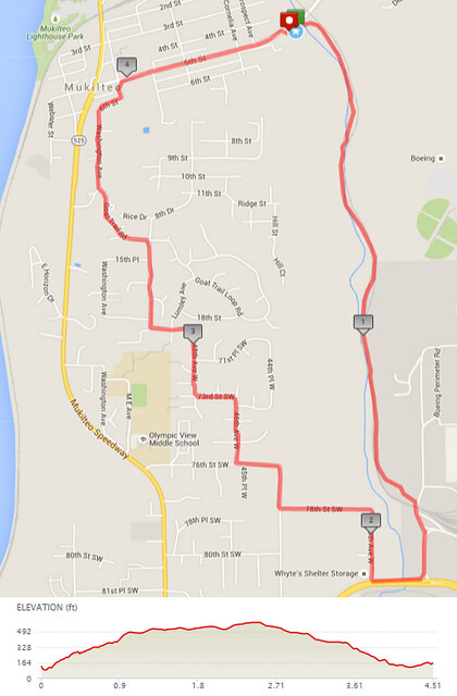 Today's awesome walk, 4.51 miles in 1:27, 9,698 steps, 497ft gain