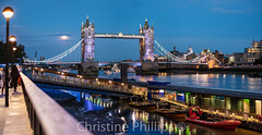Tower Bridge and the Full Moon in London