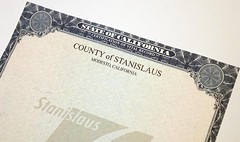 County of Stanislaus Vital Record paper