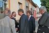 Innenminister Reinhold Gall MdL und der Karlsruher Oberbürgermeister Frank Mentrup beim Empfang vor dem Billeder Gemeindehaus.