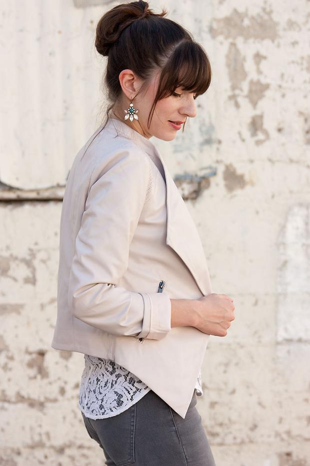BB Dakota Blush Jacket, White Lace Tee, Grey Jeans