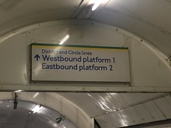 Signage at the disused Charing Cross Jubilee line platforms