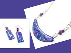 polymer clay Choker Necklace & Earrings