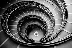 The Bramante Staircase in black and white