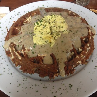 Savory waffle at AND cafe in PDX