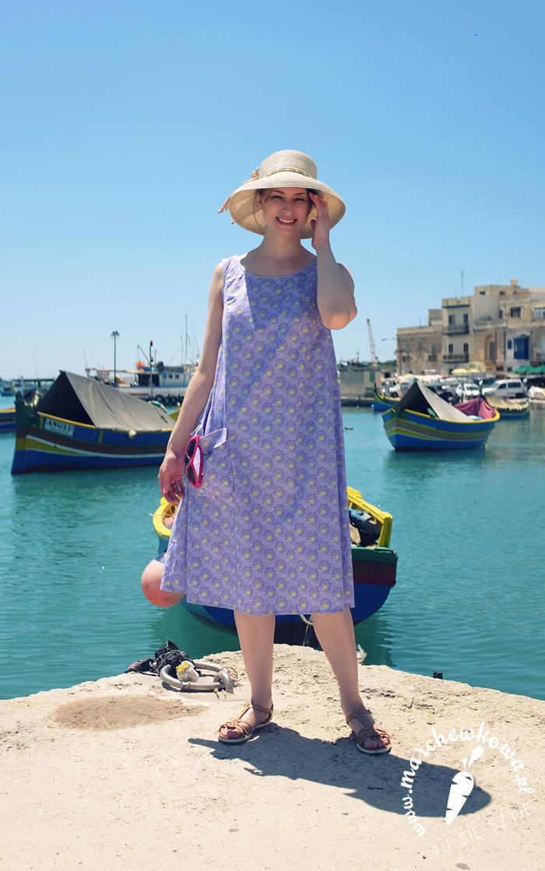blog, marchewkowa, szycie, krawiectwo, handmade, diy, sewing, sukienka namiotowa, tent dress, retro, vintage, 50s, 60s, pattern, wykrój, beyer mode, Malta