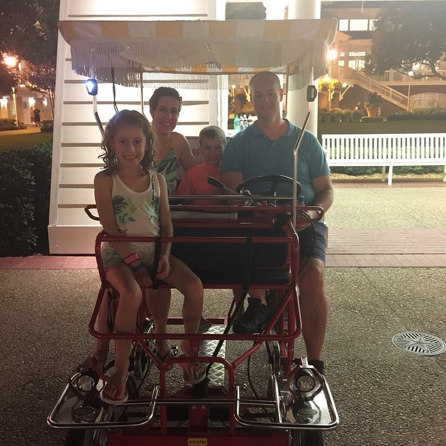We just did the craziest bike 🚴🚴🚴 ride around Disney's Boardwalk! At one point I got off to take pictures and Brian and the kids ride off without me! Ha! Not funny!!! 😂😂😂 #Disney #boardwalk #bike