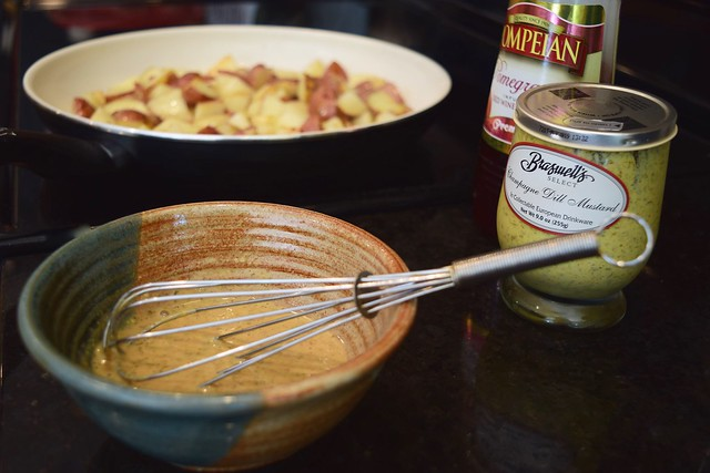Bacon Grease New Potatoes with Mustardy Greens