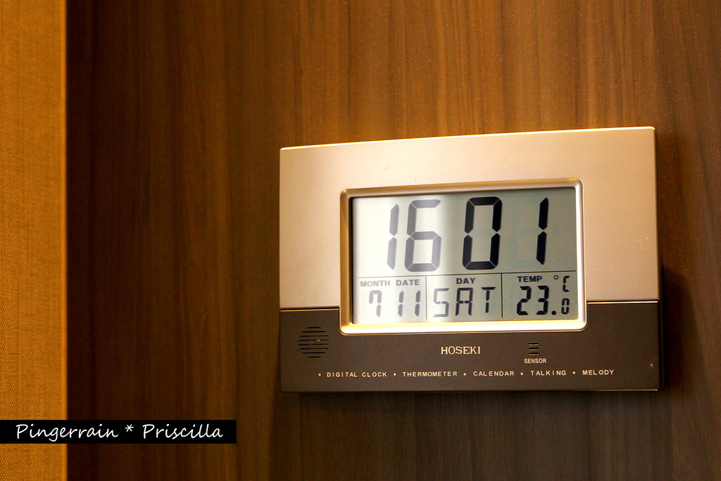 A huge digital clock in the room