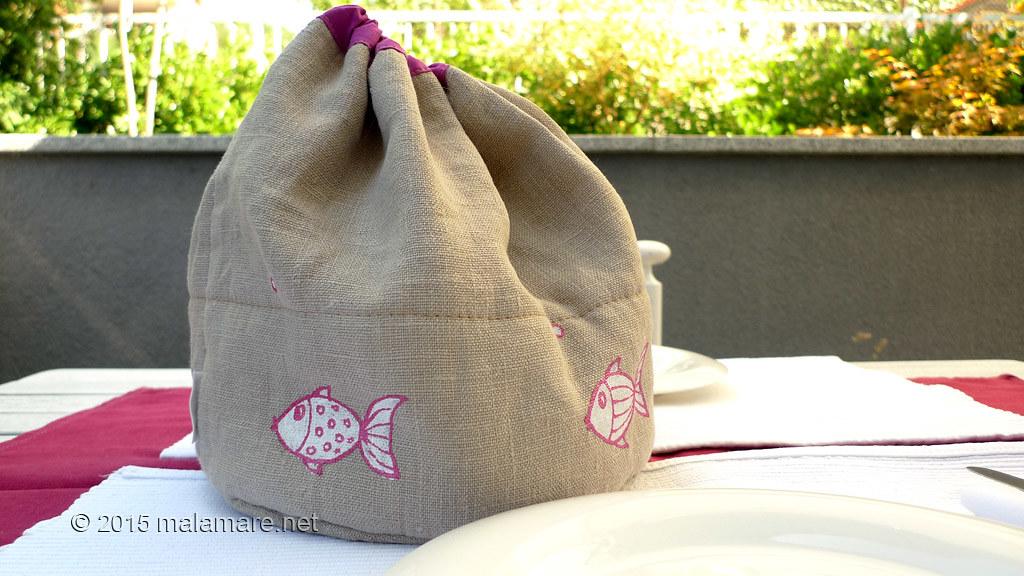Handmade linen bread bag