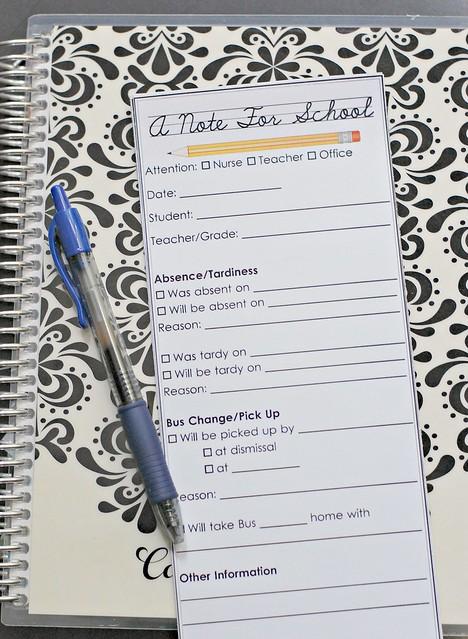 Free Printable - School Notes