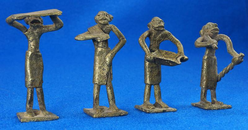 RD15105 4 Vintage African Hand Made Folk Art Primitive Figurines Solid Cast Brass Burkina Faso Yoruba West Africa DSC07120
