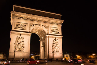 Image of Arc de Triomphe near Paris 08. skymmning arcdetriomphe euorpe paris twilight arkitektur city france placecharlesdegaulle architecture îledefrance frankrike fr