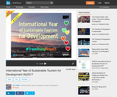 International Year of Sustainable Tourism for Development #iy2017 on Slideshare (2017-01-17) @ronmader