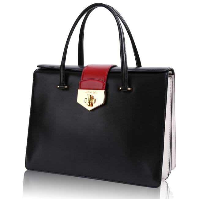 Prada Milano Käsilaukku : Prada milano black red box calf ping bag tote b c