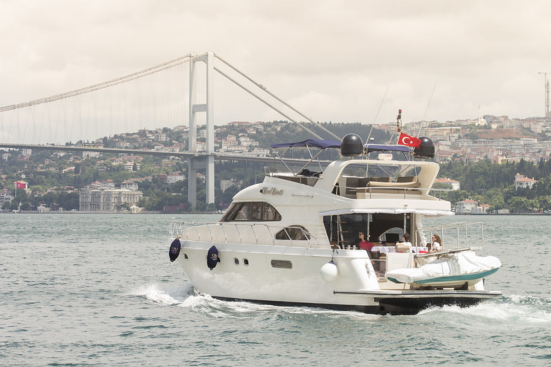 Luxury yacht & Bosphorus Bridge in the background