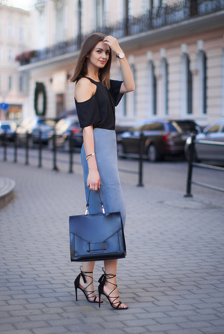 gray-suede-pencil-skirt-asos-outfit-lace-up-heels-sandals