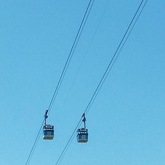 line, electricity, cable car, blue, sky,