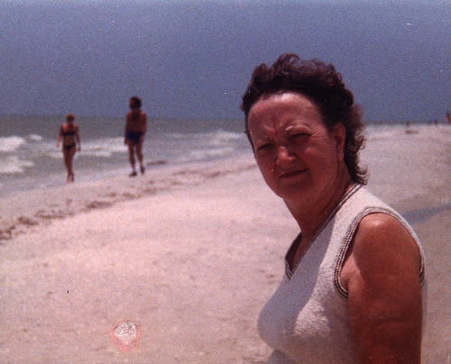 grandma on beach