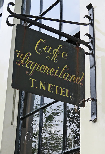 The sign for Café Papeneiland in Amsterdam, Holland