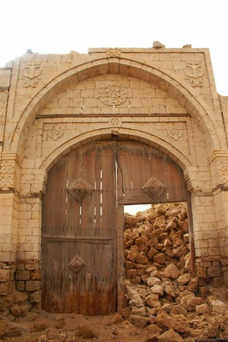 Remaining door of a building in ruins, Suakin, Sudan