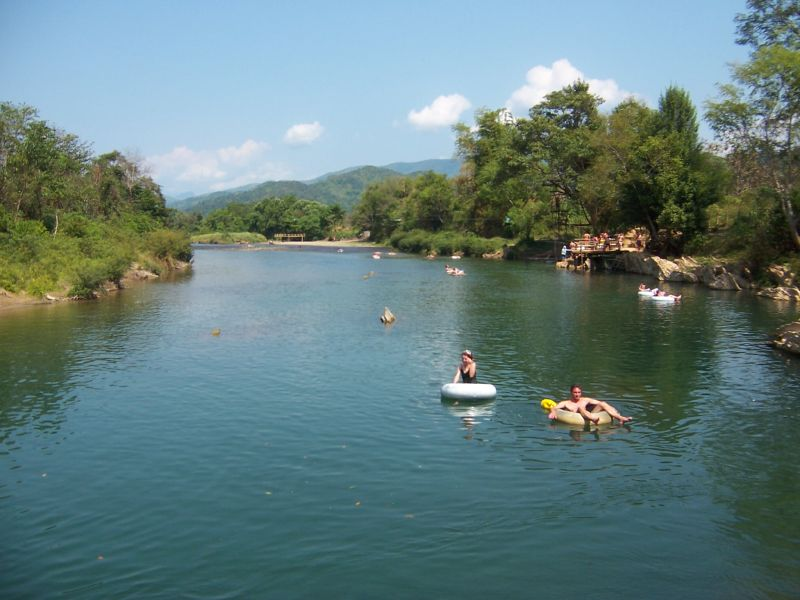 Tubing down the Nam Song in Vieng Veng