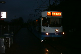 Evening tram in Göteborg, Sweden