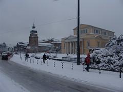 Karolinenplatz Darmstadt im Schnee