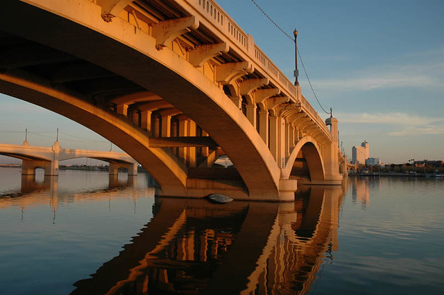 Tempe Bridge, Bathed in Sunset
