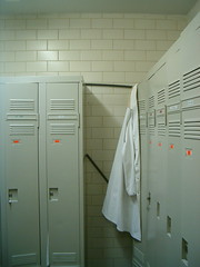 Locker room with lonely lab coat