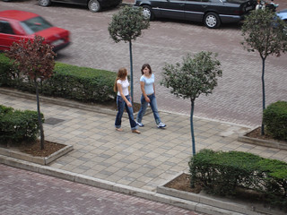 Tirana girls strolling along King Zog Avenue