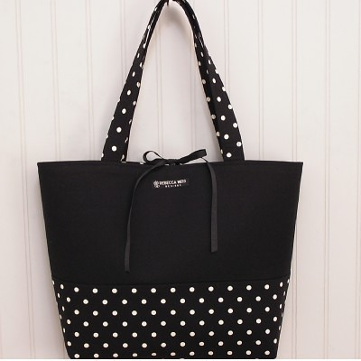 Black and White Polka Dot Tote