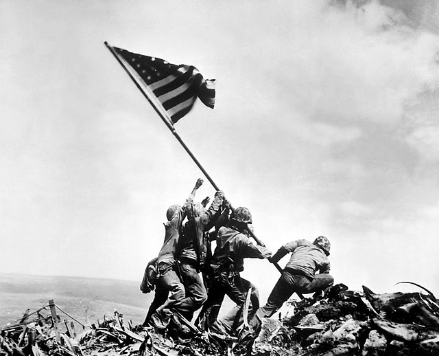 Raising the 2nd flag on Mount Suribachi