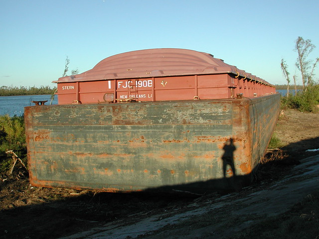 Barge on Levee