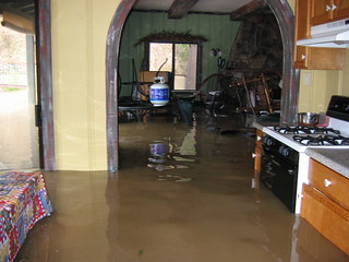 A flooded kitchen.