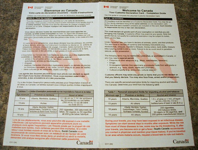 Old Bilingual Customs Declaration Card of Canada | Flickr - Photo ...: https://flickr.com/photos/hikarisuperexpress/84261830