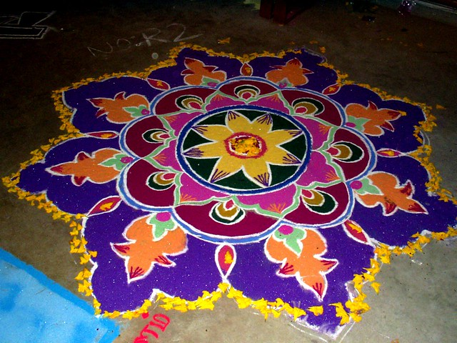 Rangoli design with powder flickr photo sharing for Floor rangoli design