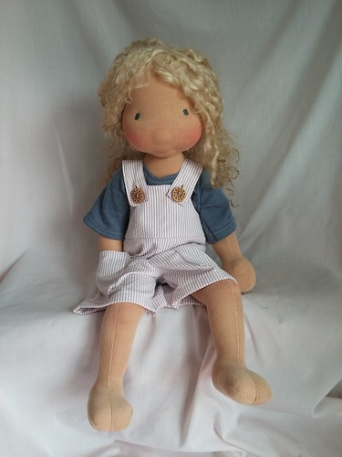 "Pinkies! Short-alls with merino tee by Inviting Play (17-20"" dolls)"