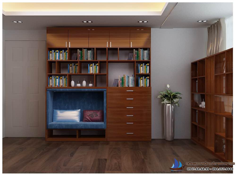 Tủ sách và chứa đồ trong phòng đọc sách
