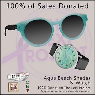 Lexi's gear watch and glasses ad