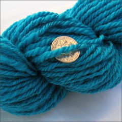 Crazy Turquoise handspun, close up