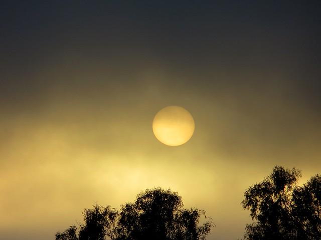 sun sets as fog rolls in