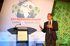 Under Secretary of State for Public Diplomacy and Public Affairs Richard Stengel delivers remarks at the Global Entrepreneurship Summit at the United Nations Compound in Nairobi, Kenya, on July 24, 2015. This is the sixth annual gathering of entrepreneurs at all stages of business development, business leaders, mentors, and high-level government officials. The established tradition demonstrates the U.S. Government's continued commitment to fostering entrepreneurship around the world. [State Department photo/ Public Domain]