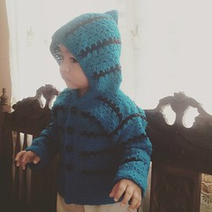 A pop of color for a bleak day □□□□ #babyJJ in his #crochet Brickster #hoodie