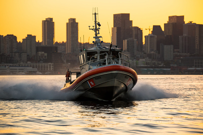 Coast Guard Station Seattle conducts early morning patrol in Elliott Bay, Wash.