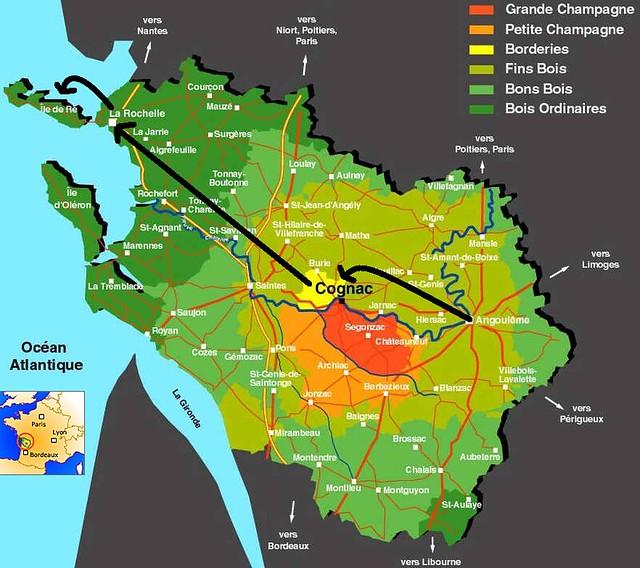 Mapa con la ruta realizada en el País del Cognac (Poitou-Charentes, Francia)