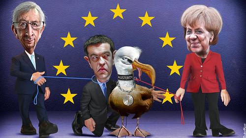 Alexis Tsipras an der kurzen Leine der EU. Grafik: DonkeyHotey / flickr (CC BY-SA 2.0)