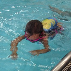 So awesome. Also, she's one less float pad down. She didn't miss it!  #swim #pool #soproud