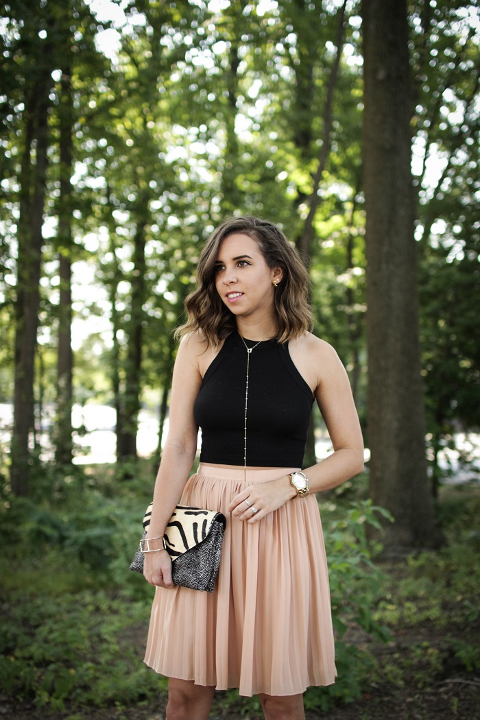 aviza style. andrea viza. fashion blogger. dc blogger. pleated skirt. crop top. dolce vita heels. loeffler randall clutch. tasteful crop top. summer style. 5